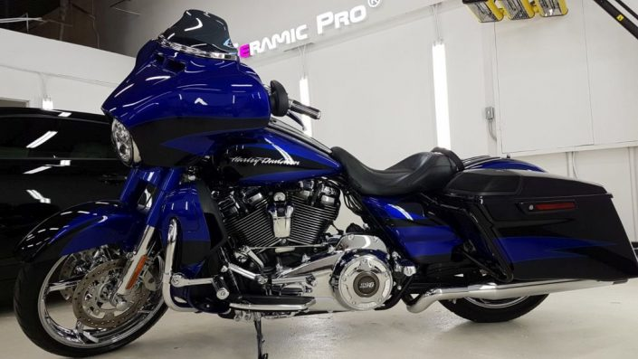 Harley Davidson bike is protected with Ceramic Pro nano coating in Edmonton