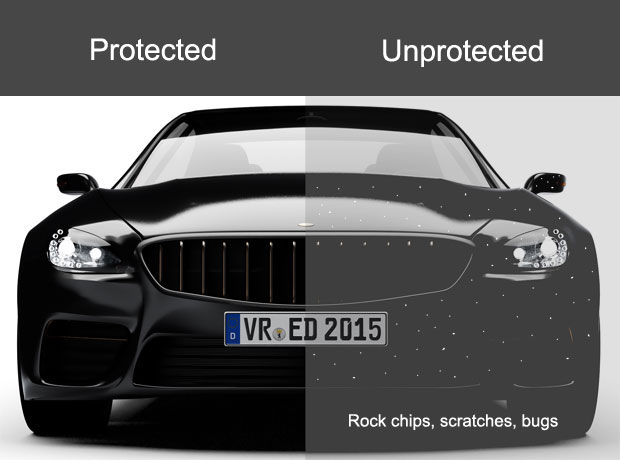 Rock chips protected by paint protection film